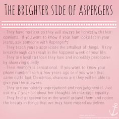 The brighter side of Aspergers (Special needs, ASD)