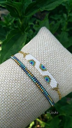 It is made with special miyuki beads. What are miyuki beads? They are beads specially cut as every one of them having exactly the same measures. The bracelets which are made with… Bead Loom Bracelets, Dainty Bracelets, Dainty Jewelry, Handmade Bracelets, Handmade Jewelry, Jewelry Accessories, Embroidery Bracelets, Silver Jewelry, Modern Jewelry