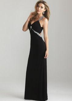 Black Long Jeweled Straps Beaded Open Back Jersey Prom Dress