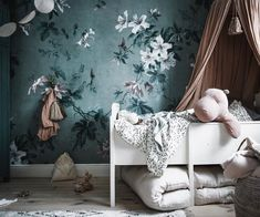 Happy Friday everyone! Wishing you all a pleasant weekend by sharing this enchanting image of wallpaper Faded Passion Green taken by… Green Wallpaper, Flower Wallpaper, Pattern Wallpaper, Bedroom Wallpaper, Kids Wallpaper, Whole Image, Modern Room, Kids Decor, Girl Room