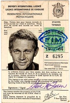 """""""I live for myself and I answer to nobody."""" Steven McQueen, born on this day in 1930 driver's license international icon Steve McQueen actor celebrity"""