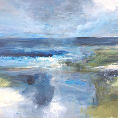 Sea Bright, Norfolk Coast, Bright Paintings, Creative Workshop, Grey Skies, Pink Clouds, Coastal Art, Seascape Paintings, Mixed Media Painting
