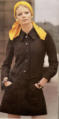 Emanuel Ungaro Shirt-dress  Vogue spring 1970.In brown worsted