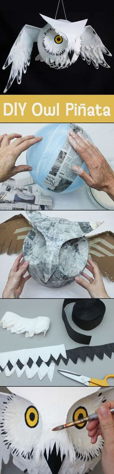 Awesome homemade Owl or Hedwig pinata for a Harry Potter party