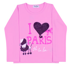 Toddler Clothing - Collection: 2014 Fall/Winter.  Name: Paris Love Outfit. Available in 3 colors and with matching pair of skirted leggings. http://www.pullabulla.com/Paris-Love-Outfit-p/31217r.htm