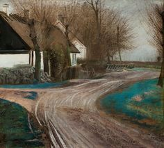 Laurits Andersen Ring - Road by the Village Pond in Baldersbrønde 1907 Pick Art, Social Realism, Famous Artwork, Skagen, Denmark, Landscape Paintings, Pond, Country Roads, Rings