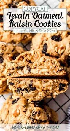 Loaded with plump, juicy raisins and warm spice, these Copycat Levain Oatmeal Raisin Cookies are oversized and perfect for sharing. They're a taste of New York without having to go into the city to visit Levain Bakery for the original version and are soft and chewy - just right with a glass of ice-cold milk! #Levain #oatmeal #raisin #cookies #easy #copycat #homemade #best #chewy Holiday Cookie Recipes, Best Cookie Recipes, Cookie Desserts, Homemade Cookies, Sugar Cookies Recipe, Bake Sale Cookies, Levain Bakery, Friend Recipe, Favorite Cookie Recipe