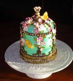 Victorian Vintage Birdcage Cake for my 'Vintage' Sister-in-Law... This website is the Pinterest of birthday cake ideas