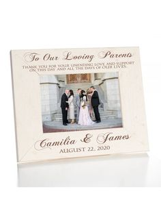 Personalized Wedding Picture Frame for Parents of the Bride and Groom Thank You Gift For Parents, Wedding Gifts For Parents, Thank You Gifts, On Your Wedding Day, Wedding Picture Frames, Wedding Photos, Daughter Poems, Finding True Love, Change Background