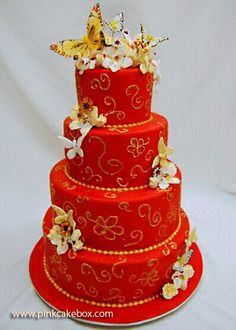 Red four tier cake