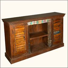 "Repurposed Rustic Old Wood Distressed Shutter Door 68"" TV Media Console"