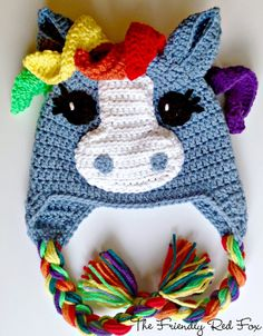 The Friendly Red Fox: Free Crochet Little Pony Hat Pattern. Lots of different colors and options available for the little pony lover! Comes in four sizes.
