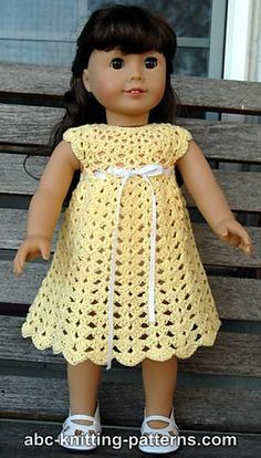 American Girl Doll Seashell Summer Dress, free pattern uses fingering weight cot., SUMMER OUTFİTS, American Girl Doll Seashell Summer Dress, free pattern uses fingering weight cotton and a hook. American Girl Outfits, American Doll Clothes, Baby Doll Clothes, American Girls, Barbie Clothes, Crochet Doll Dress, Crochet Doll Clothes, Crochet Doll Pattern, Doll Clothes Patterns