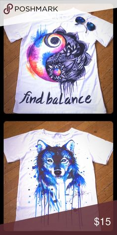 "Bundle of 2 Society6 Tops!!!✨ Both are plain white tees, with a cool print. (Glasses are not for sale) They are a very soft and comfortable material. The ""find balance"" top has never been worn, and the wolf print top has been worn once. Tops Tees - Short Sleeve"