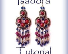 Check out Beadweaving pattern earrings Isadora Beading tutorial Beaded pattern earrings PDF instructions earrings red earrings earrings tutorial on emeliebeads