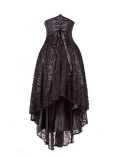 Black Corset Lace High-Low Gothic Party Dress - Devilnight.co.uk