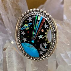 Oval Galaxy Ring :: David-r-freeland-jr-designs Native American Fashion, Native American Jewelry, Native Style, Indian Jewelry, Turquoise Bracelet, Santa Fe, Stone, Jr, Rings