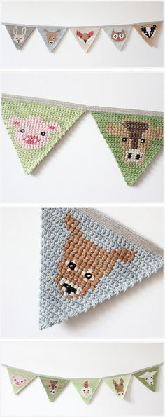 Crocheted and cross stitched garland by The Fox in the Attic ☂ᙓᖇᗴᔕᗩ ᖇᙓᔕ☂ᙓᘐᘎᓮ http://www.pinterest.com/teretegui