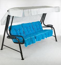 Blue Swing Garden Chair Cast Aluminum Patio Furniture, Metal Garden Furniture, Outdoor Furniture, Outdoor Chairs, Outdoor Decor, Garden Chairs, Blue, Home Decor, Lawn Chairs