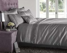 Kimberley Silver Designer King Bedding Quilt Duvet Cover Covers With Pintuck Stitching and Diamante Panel:Amazon.co.uk:Kitchen  Home