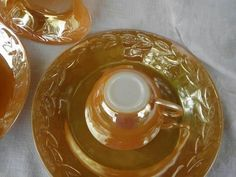 vintage Fire-King copper tint peach luster glass dishes, set for 4