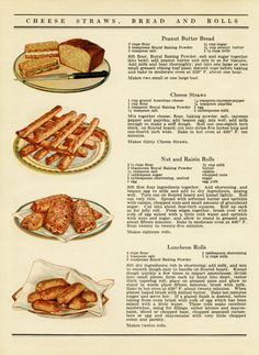 Retro Recipes, Old Recipes, Vintage Recipes, Cookbook Recipes, Bread Recipes, Cooking Recipes, Peanut Butter Bread, Cheese Straws, Vintage Baking