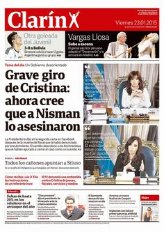 """eCdlN: Clarin oculta y tergiversa, en tapa, las palabras de CFK y miente sobre un supuesto """"Grave giro de Cristina"""" http://elclubdelasnoticias.blogspot.com.ar/2015/01/falacias-reiteradas-promovidas-por.html"""