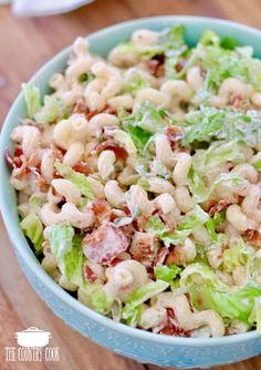 Bacon Lettuce Tomato Macaroni Salad with mayonnaise dressing recipe