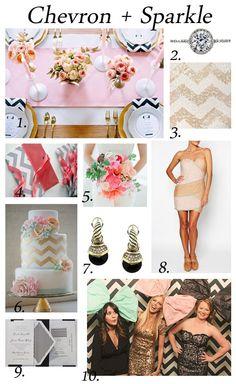 Chevron Wedding invitations, chevron bridesmaids dresses,, chevron wedding cake and more great chevron wedding ideas for a sparkly chevron wedding!