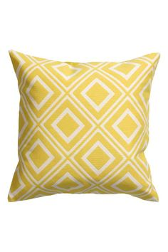 Jacquard-weave cushion cover: Cushion cover with a jacquard pattern on the front, solid-colour back and concealed zip.