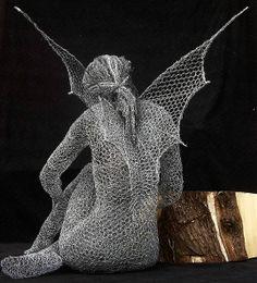 """Wire Sculpture by Derek Kinzett """"Wood Smoke"""" Avalons Child Collection. 2009"""