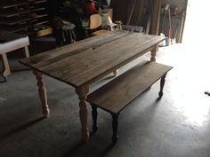 Dining table w/bench. Featuring 100+ year old boards from client's family farm. Finish to be applied by owner.