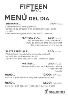 Hoy, en Fifteen Raval, os esperan estos deliciosos platos... ¡Os esperamos!