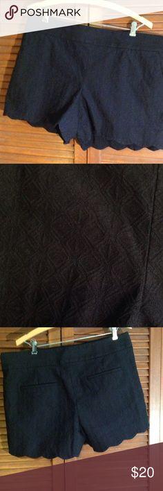 "Black Rivera Loft Shorts PRICE FIRM Scalloped hem. 4"" inseam. Great condition! LOFT Shorts"