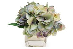 The French Bee - Hydrangea in Cube Vase, Pale Blue