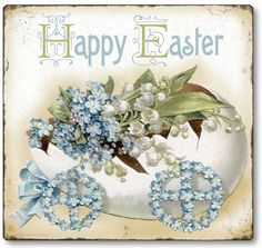 My two favorite flowers! Victorian style Easter egg on wheels is filled with lily of the valley and forget me nots to bring you Easter greetings. Ribbon attached for hanging.