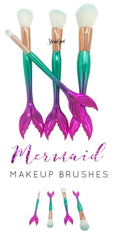 Purple and green mermaid makeup brushes! ❤