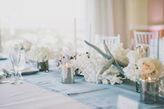 Blue & Grey Wedding Reception details and decor at The Shores Resort & Spa on Daytona Beach, Florida