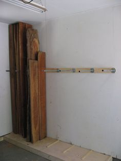 vertical board storage in the garage.