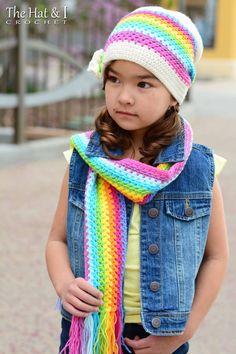 CROCHET PATTERN  Crayon Box Hat & Scarf  crochet slouchy hat
