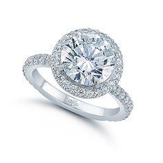 3CT. Triple Excellent Round Brilliant Cut Diamond in a Platinum and Diamond Micro-pave Larisa Setting