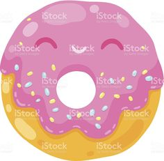 cute smiling donut with pink cream. Donut Cartoon, Food Illustrations, Free Vector Art, Donuts, Royalty, Cream, Children, Sweet, Cute