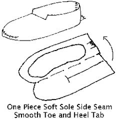 The most basic form of soft-sole moccasin was the simple center seam made from a single piece of tanned leather. The leather sides were brought up from the bottom and around the sides of the foot sewn in a central seam starting with a puckered stitch at the toe and running along the upper instep.