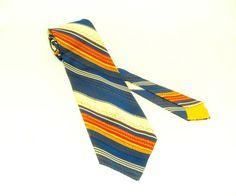 1970s WIDE Striped Necktie Mens Vintage by TheNakedManVintage