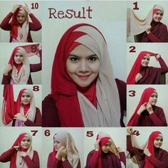 I have collected hijab styles step by step tutorial. It consists of steps required to wear beautiful hijab styles. These steps for hijab styles are easy. Turban Hijab, Hijab Dress, Hijab Outfit, Tutorial Hijab Pashmina, Hijab Style Tutorial, Scarf Tutorial, Stylish Hijab, Hijab Chic, Islamic Fashion