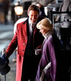 Hugh Jackman e Michelle Williams sul set in costume di The Greatest Showman