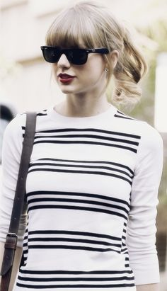 Taylor Swift ♥ red lips & striped shirt inspiration