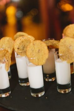 Intimate DIY Wedding at Barr Mansion in Austin, Texas milk and cookie shooters organic catering