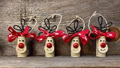 Set of 6 Cork Ornaments Reindeer Ornaments by ReconditionaILove Wine Cork Ornaments, Wine Cork Crafts, Diy Christmas Ornaments, Homemade Christmas, Christmas Projects, Holiday Crafts, Christmas Holidays, Reindeer Ornaments, Wine Cork Art