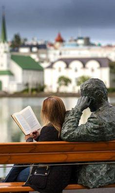 Book Lovers: Reading next to poet, Tomas Gudmundsson, Reykjavik, Iceland